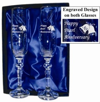 30th Anniversary Crystal Champagne Flutes - 30ACF