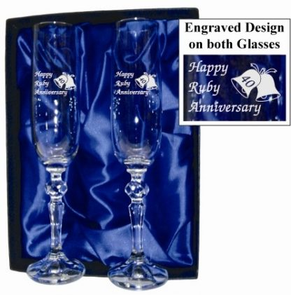 40th Anniversary Crystal Champagne Flutes - 40ACF