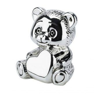Silver Plated Teddy Bear Money Bank - R9291