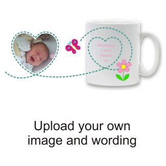 Ceramic Photo Mug - Heart & Flower Design