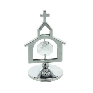Crystocraft Silver Plated Church with Cross Ornament - SP719