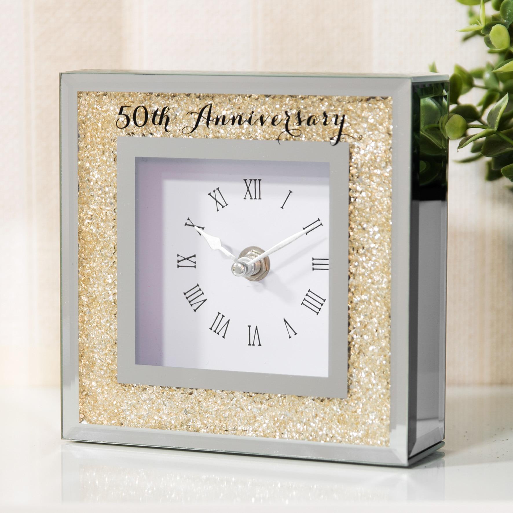 personalised engraved glass clock  golden anniversary diamond anniversary