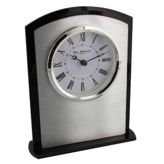 Black Glass & Stainless Steel Arched Mantel Clock - W2739