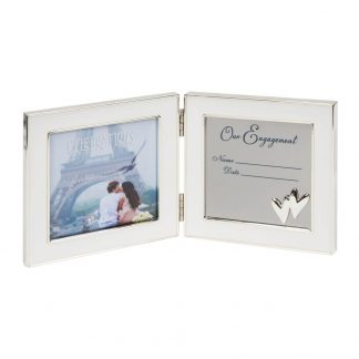 """4"""" x 4"""" Silver Plated Hinged Engagement Photo frame"""