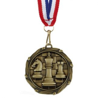 45mm Embossed Chess Medal with Ribbon AM1156.12