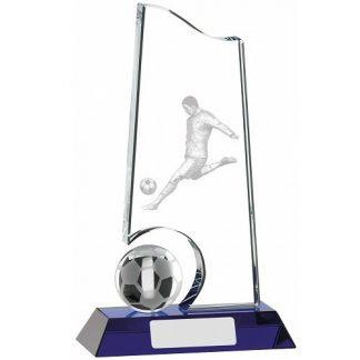 *NEW* Football Glass Award with Blue Base – 3 Sizes - GLF52