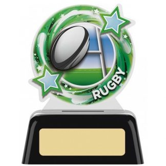 *NEW* Acrylic Rugby Trophy on Black Base - 2 sizes - PK113