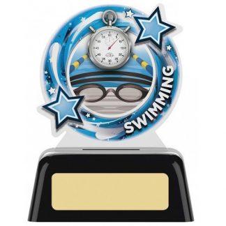 *NEW* Acrylic Swimming Trophy on Black Base - 2 sizes - PK127
