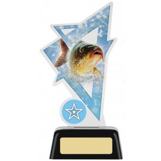 *NEW* Acrylic Fishing Trophy With Own Logo Option- 2 sizes - PK157