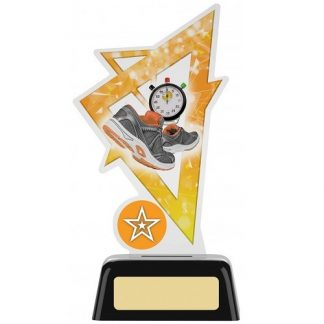 *NEW* Acrylic Running Trophy With Own Logo Option- 2 sizes - PK175
