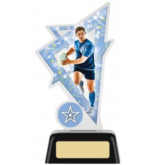 Acrylic Rugby Trophy With Own Logo Option- 2 sizes - PK177