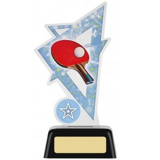 *NEW* Acrylic Table Tennis Trophy With Own Logo Option- 2 sizes - PK185