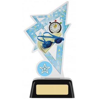 *NEW* Acrylic Swimming Trophy With Own Logo Option- 2 sizes - PK191