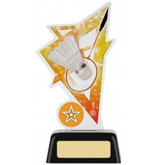 *NEW* Acrylic Badminton Trophy With Own Logo Option- 2 sizes - PK195