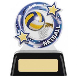 *NEW* Acrylic Netball Trophy on Black Base - 2 sizes - PK203