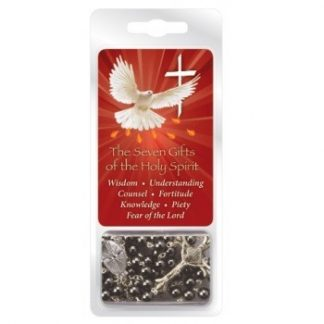 Confirmation Imitation Hematite Rosary Beads with Prayer Card