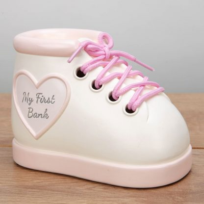 Baby Girl Pink 'My First Bank' Bootee Money Box - CG1766